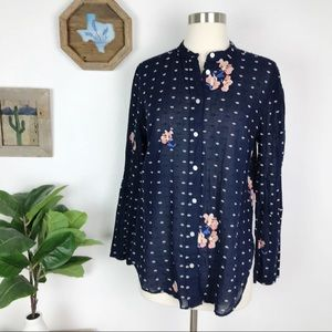 LOFT Floral Embroidered Bell Sleeve Button Down